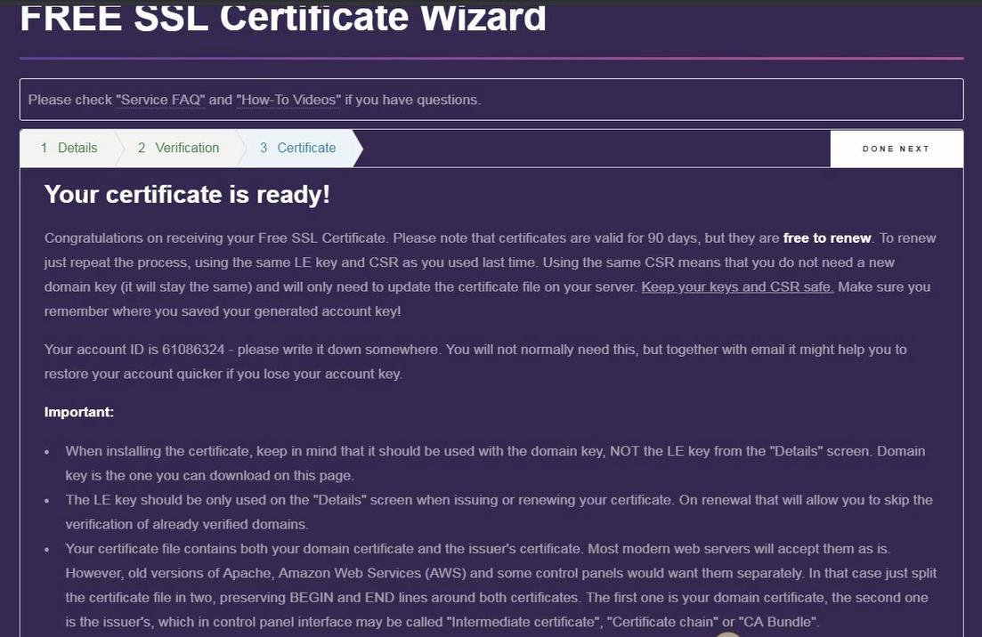 Free SSL Certificate Wizard