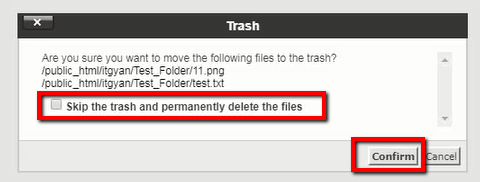 Delete Files Confirmation