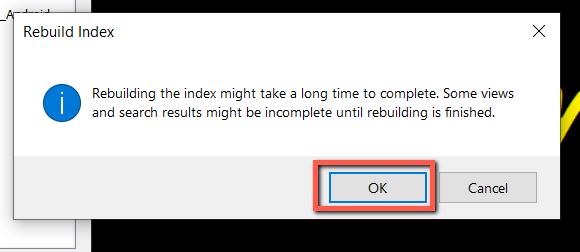 rebuild index